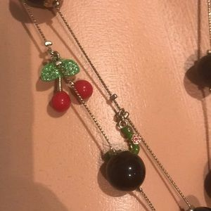Betsey Johnson cherry pie picnic long necklace nwt